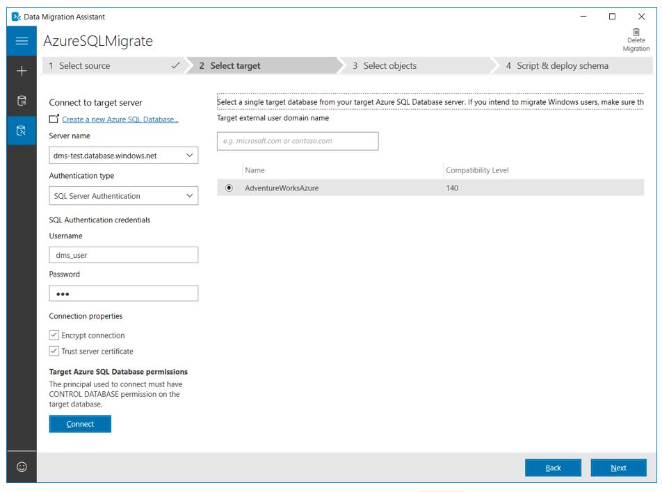Azure SQL Migration - select target