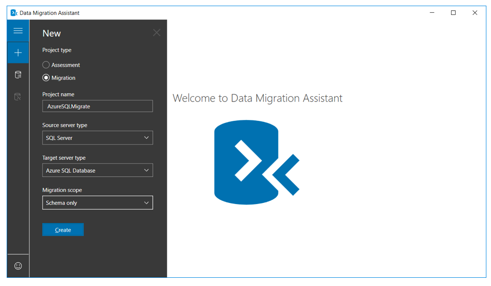 welcome to data migration assistant
